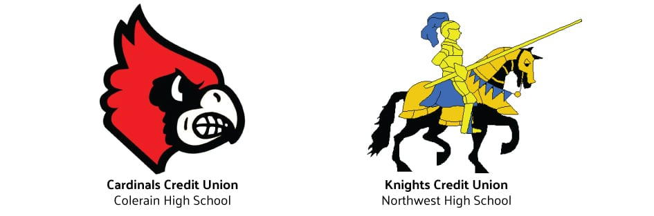 Cardinals Credit Union Logo & Knights Credit Union Logo