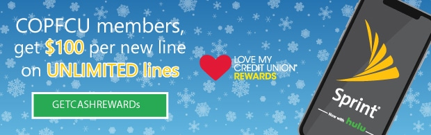 COPFCU Members get $100 Cash Rewards from Sprint with every new line.