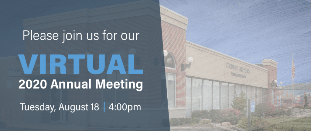 Please join us for our Virtual 2020 Annual Meeting - Tuesday, 8/18 at 4:00p