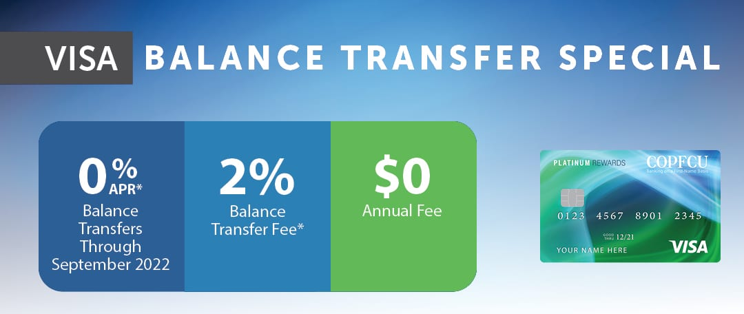 Enjoy 0% APR Thru 9/2022 on Balance Transfers Completed by 3/31/2021